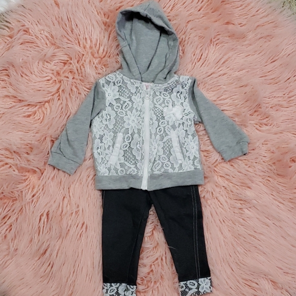 Little Lass Other - Little Girl Zip Hoodie and pants outfit